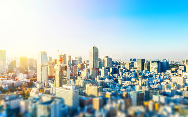 Fototapete - tokyo skyline aerial view with tilt shift effect