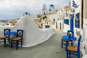 Pyrgos auf Santorini in Griechenland