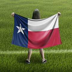Women and Texas flag