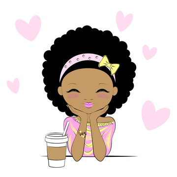 Cute girl with coffee cup day-dreaming in cafe. Cartoon stylized character isolated on white background.