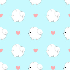 Cute pomeranian dog and hearts seamless pattern isolated on light blue background.