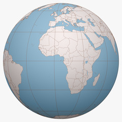 Sao Tome and Principe on the globe. Earth hemisphere centered at the location of the Democratic Republic of Sao Tome and Principe. Sao Tome and Principe map.