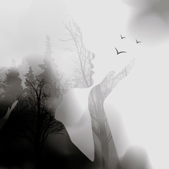abstract Woman face silhouette. ink effect Forest background.Vector double exposure illustration.Woman face and beautiful nature landscape inside. fog in the forest.
