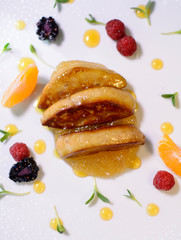 Dish with foie gras and marmalade