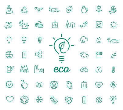 Set of 50 ecology vector icons