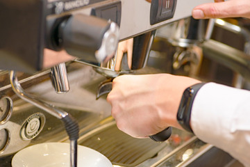 barista making latte coffee