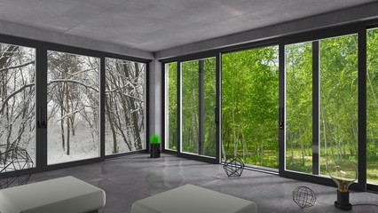 Obraz Sliding windows winter summer - fototapety do salonu
