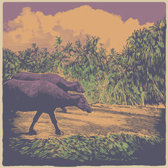 Indian rural landscape with cows and palms trees. color variant. engraving style. vector illustration