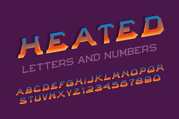 Heated letters and numbers. 3d hot font. Isolated english alphabet.