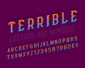 Terrible letters with numbers, dollar and euro signs. Stylized 3d font. Isolated english alphabet.