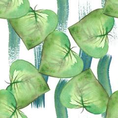 Green leaves of petunia watercolor seamless pattern