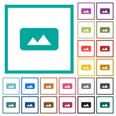 Panorama picture flat color icons with quadrant frames