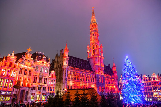 Christmas  lights show on the Grand Place with a huge Christmas tree in BRUSSELS, BELGIUM. 16-12-2018