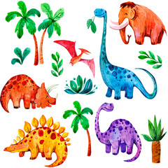 Seamless pattern with cartoon dinosaurus. Hand drawn watercolor illustration
