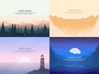 Fotobehang Purper Vector banners set with polygonal landscape