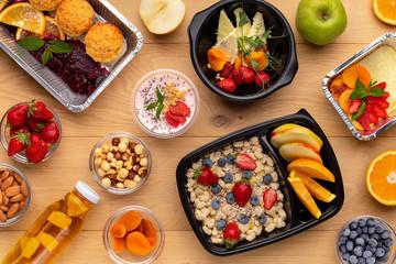 Healthy breakfast snack, top view