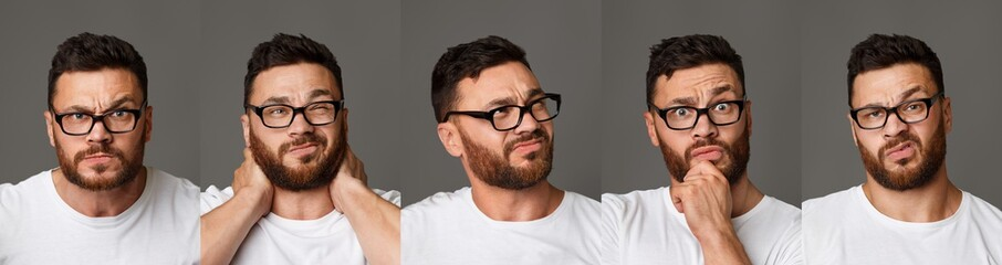 Collage of young man in glasses facial expressions