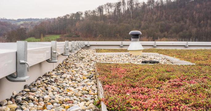 Flachdach Kiesdach und Dachbegrünung - Flat roof Gravel roof and roof greening