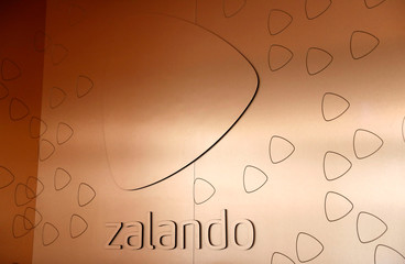 The logo of fashion retailer Zalando is pictured in an office building in Berlin