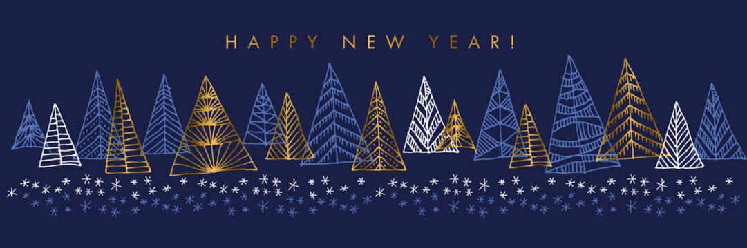 Hand drawn Christmas tree horizontal design element