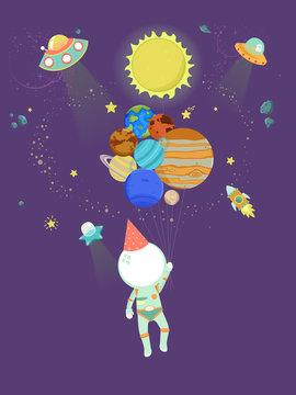 Kid Astronaut Balloons Party Hat Illustration