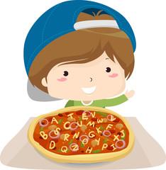 Deurstickers Feeën en elfen Kid Boy Pizza Alphabet Illustration