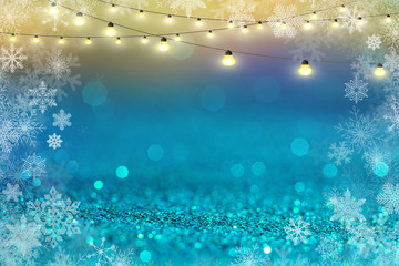 blue and white glitter abstract bokeh background Christmas