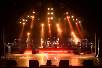 Fototapeta Free stage with lights, lighting devices. obraz