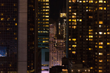 urban scene of new york city at night, usa