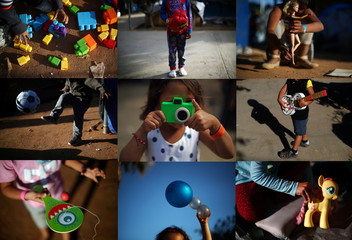 A combination picture shows migrant children, part of a caravan of thousands from Central America trying to reach the United States, posing with toys they play with in a temporary shelter in Tijuana