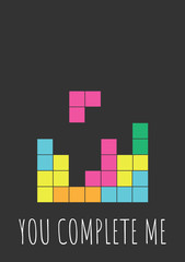 Funny Valentines Day greeting card with game for nerds, gamers and IT developers. Handwritten text on black background with colorful blocks.