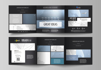 The black colored minimalistic vector illustration of the editable layout. Two creative covers design templates for square brochure. World globe on blue. Global network connections, lines and dots.