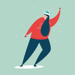 Girl skates on the ice rink. Winter sport vector cartoon illustration isolated on background.