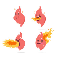 Stomach heartburn vector cartoon character with funny internal organ with fire. Illustration set isolated on white background.