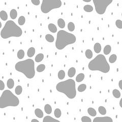 Pet Paw Seamless Pattern Background,  Animal Vector Illustration