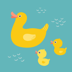 Cartoon mother duck swimming in the pond with ducklings. Rubber duck family swimming in the bath. Mothers Day concept. Baby shower design. Clipart eps 10 illustration isolated on white background.