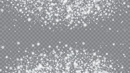 Christmas Magic Illustration. Macro snowflakes flying border illustration. Winter card with snowflakes. Transparent base.