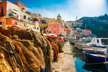 Procida, Italy-August 18, 2016: Overview of Porto Corricella in Procida Island, Italy