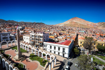 City view of Potosi Bolivia with Cerro Rico in the background
