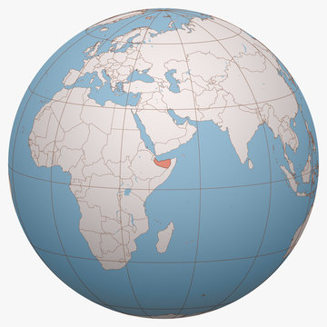 Somaliland on the globe. Earth hemisphere centered at the location of the Republic of Somaliland. Somaliland map.