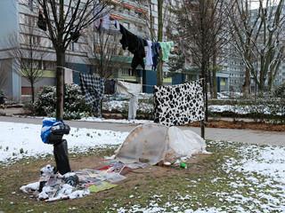 homeless person's bivouac in public parc