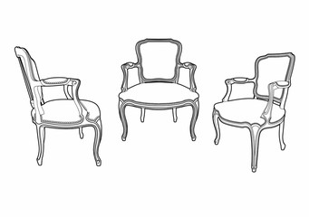 three drawing style armchairs