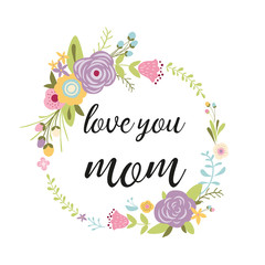 Mothers day greeting card, invitation Floral wreath hand drawn flowers vector illustration