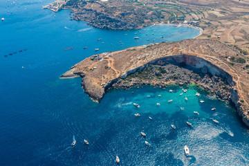 Mistra Bay, Xemxija, western part of St. Paul's Bay, Northern Region, Malta. Aerial view.