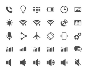 Smartphone functions web icons. Ui elements. Smartphone functions vector icons for web, mobile and ui design