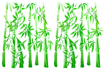 Hand drawn green bamboo leaves and branch set, ink painting. Traditional dry calligraphic brush painting. (isolated on white background)