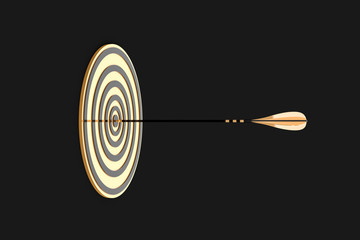 golden arrow hit the gold target on a black background