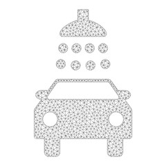 Mesh vector car shower icon on a white background. Mesh wireframe dark gray car shower image in low poly style with structured triangles, nodes and linear items.