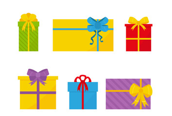 Set of colorful flat gift boxes with bows. Presents for holidays. Christmas and New Year elements. Vector design for sale poster
