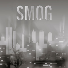 Smog polluted urban landscape. Highly polluted city with factory plants smoking towers and pipes.